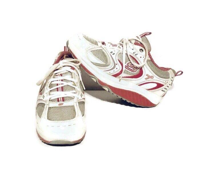 Sketchers Shape Ups Women Sz 7.5 White and Pink Ribbon Walking Toning shoes