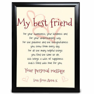 Keepsake Poem PRINT ONLY Friend Gift Personalised Birthday Gift Best Friends