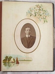 Antique-Victorian-Photograph-Album-44-Photographs-Large-amp-Small