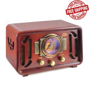 Retro-Vintage-Radio-Wood-Bluetooth-2-Stereo-Speaker-AM-FM-USB-Modern-Technology