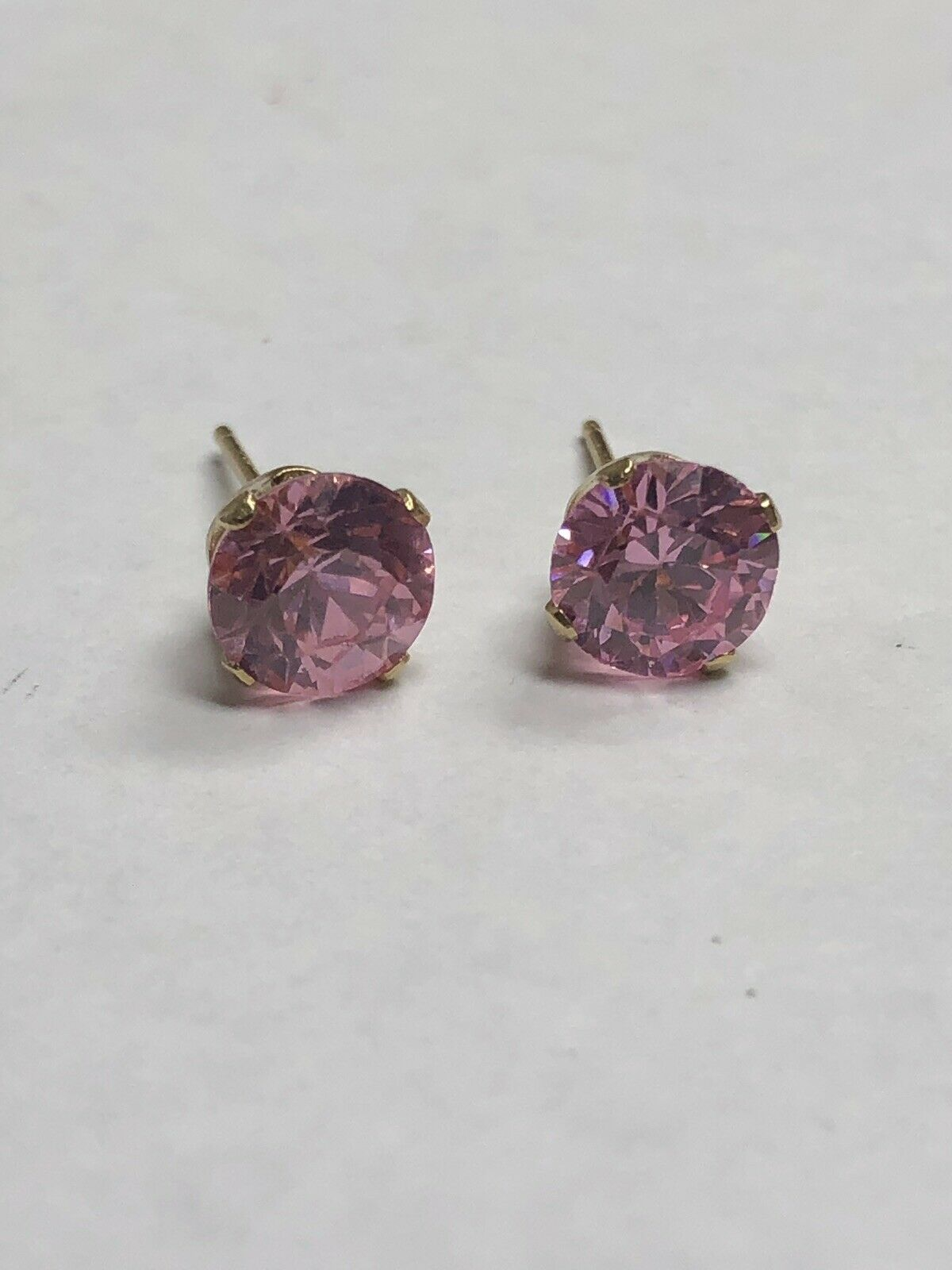 14k yellow gold pink ice earrings - 6.5 mm  - 1.3 grams