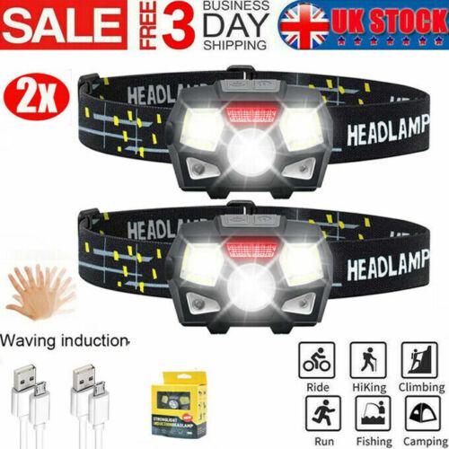 2X Waterproof Headlight USB Rechargeable LED Headlamp Head Torch Running Fishing