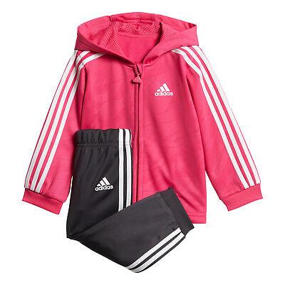 adidas Toddler Shiny Full Zip Hooded Jacket & Track Pants