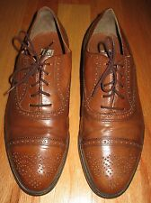 PELLEGRINI MEN'S SADDLE TAN LEATHER BROUGE OXFORDS SIZE 11[45] MADE IN ITALY