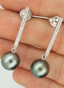 14K-WHITE-GOLD-DROP-DIAMOND-amp-BLACK-TAHITIAN-SOUTH-SEA-PEARL-STUD-EARRINGS-11mm