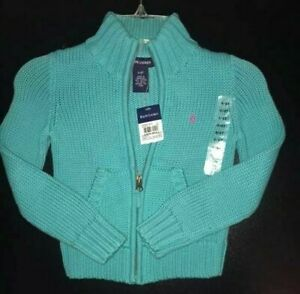 Ralph-Lauren-NWT-Girls-Size-4-Turquoise-Zippered-Cardigan-with-Pockets