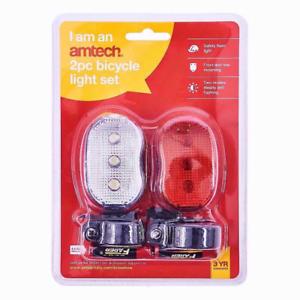 Bike 2 Piece Batteries Amtech uk 2pc Bicycle Flash Light Set