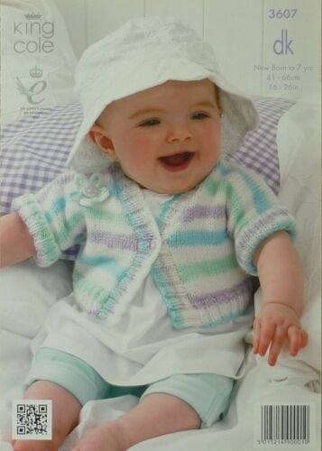 Tejer patrón Bebé//niños redondas y de manga corta con cuello en V Cardigan DK KC 3607