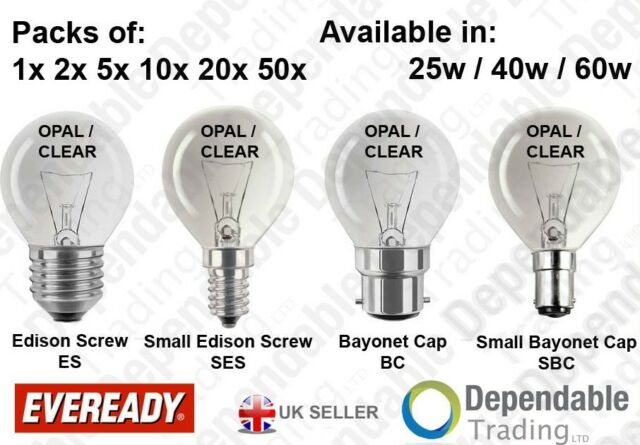 EVEREADY GOLF BALL LIGHT BULBS - OPAL / CLEAR LAMPS 25W 40W 60W - SES SBC ES BC