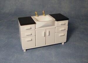 Vanity Sink Unit Black & White Dolls House Miniatures Basin 1/12 Scale