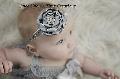 Silver Gray Dressy Satin Flower Newborn Headband Bow Baby Girl Hair Bow Hairbow