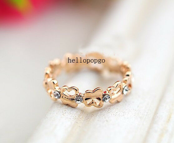 18K Rose Gold GP Swarovski Crystal Butterfly Ring Size 6,7,8 ,9 Available BR620