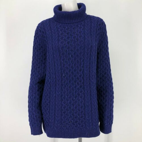 Lands End Womens XL Sweater Lofty Cable Turtleneck