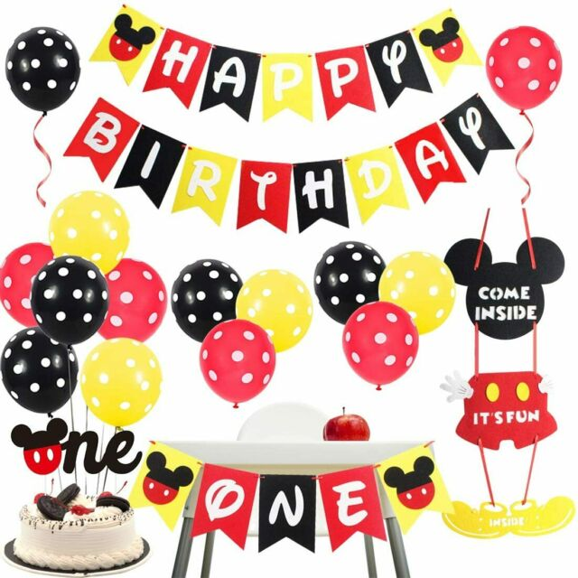 Mickey Mouse Decoraciones Party Supplies Cumpleaños De 1 Año Para Bebe Niños Set For Sale Online Ebay