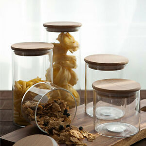 glass canisters storage jar containers with wood lid 1pc ebay. Black Bedroom Furniture Sets. Home Design Ideas