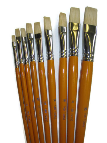 Artist Quality White Bristle paint brushes Oil /& AcrylicPL//CHOOSE your # or Set