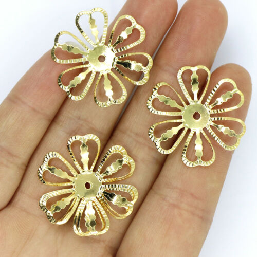 20//80PCS  Filigree Flower Metal Slice Charms For Crafts Jewelry Making 28MM