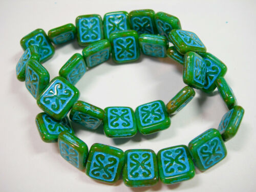 15 Green w// Turquoise Wash Czech Glass Rectangle Beads 11x12mm