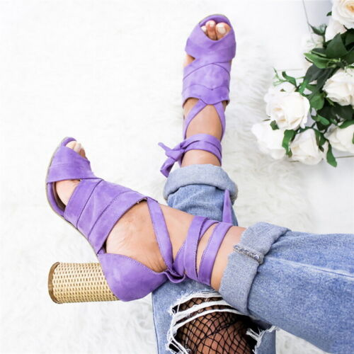 Women Ankle Strap High Heels Sandals PU-leather Beach Coarse Bandage Shoes hot
