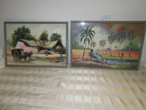 Mid-Century-Modern-PAIR-Tiki-Hawaiian-Tropical-Framed-Prints-23x16