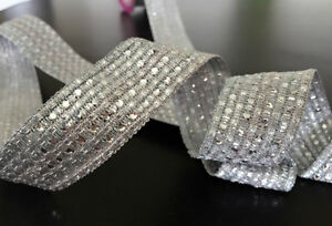 1M  SILVER BRAID LACE RIBBON TRIM WITH DIAMANTE 30MM WIDE - <span itemprop='availableAtOrFrom'>London, Hertfordshire, United Kingdom</span> - 1M  SILVER BRAID LACE RIBBON TRIM WITH DIAMANTE 30MM WIDE - London, Hertfordshire, United Kingdom