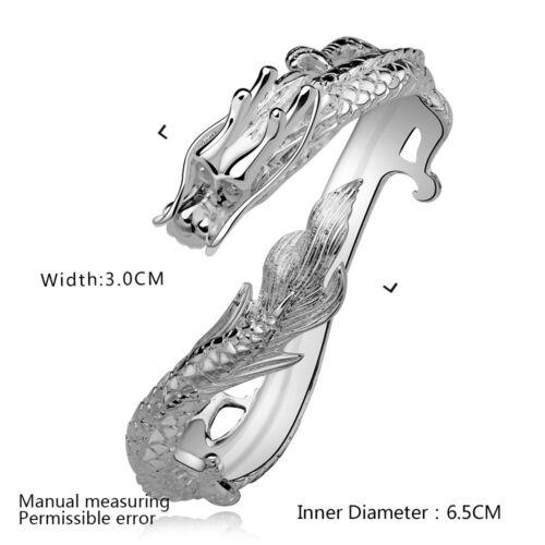 Cool Argent Sterling 925 Big Dragon hommes forts Cuff Bracelet 6.5 cm YB222