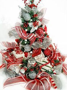 Red White And Silver Christmas Tree.Details About Christmas Tree Floral Arrangement Centerpiece Sweet Treat Red White Decorated