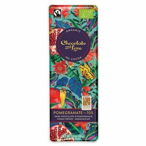 Chocolate And Love Organic 70 Dark Chocolate With Pomegranate 40g Pack Of 14 For Sale Online Ebay