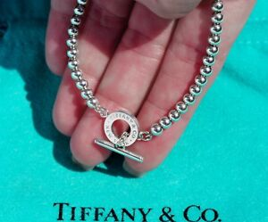 336c3ab14 Tiffany & Co New York Sterling Silver 4mm Toggle Bead Bracelet 7 ...
