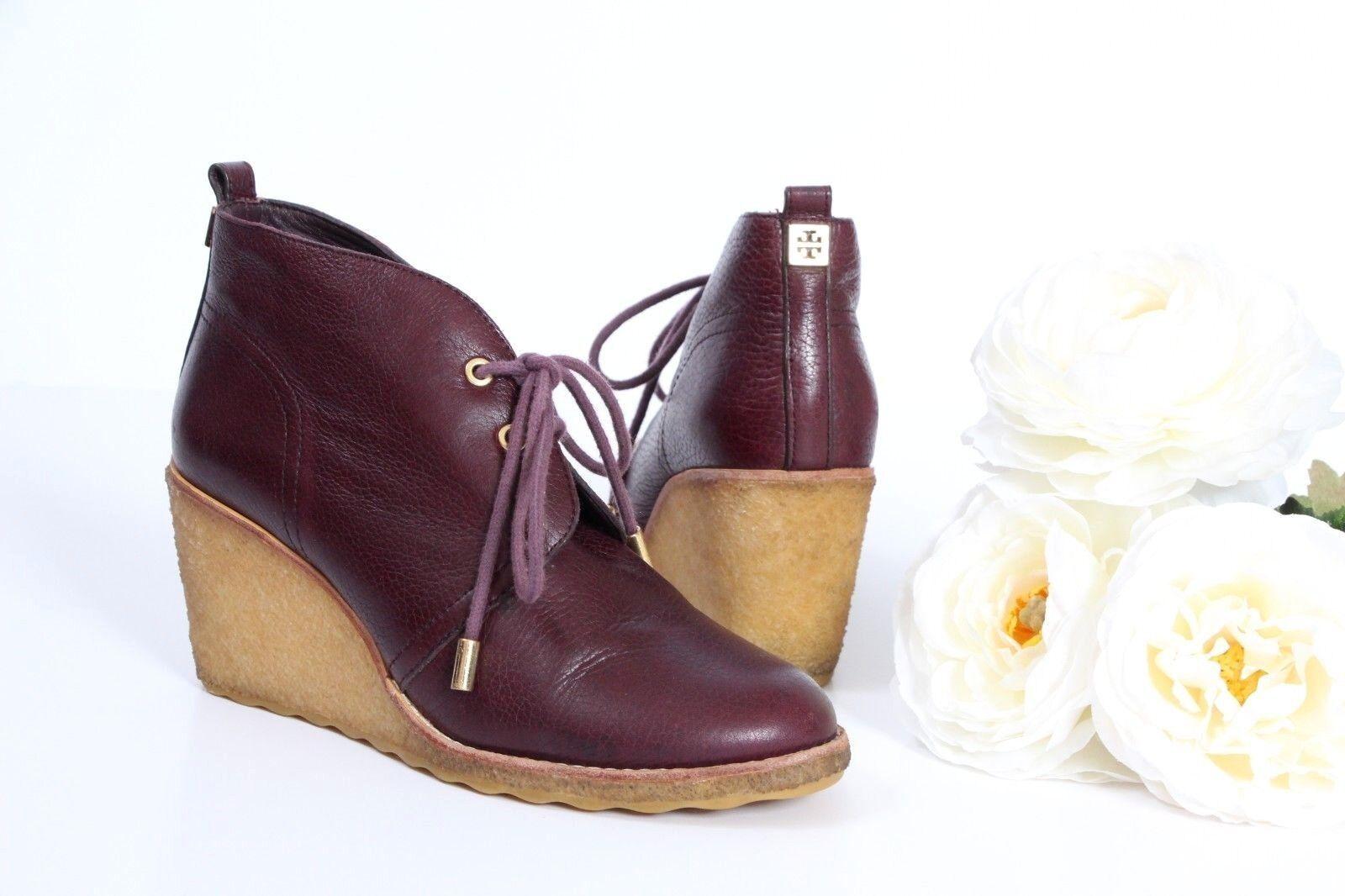 miglior reputazione Tory Tory Tory Burch Vicki Wedge Ankle stivali avvioies 6.5 rosso Leather Fur Luxury  punti vendita