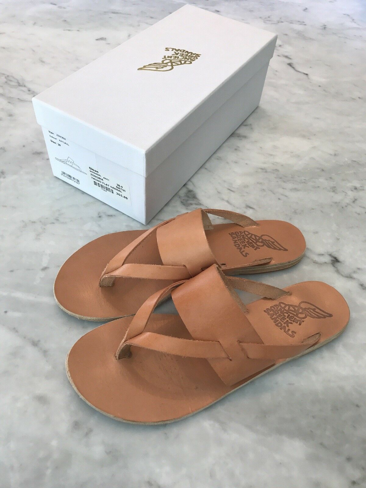 Ancient Greek Sandals Zenobia thong flat in natural size 39