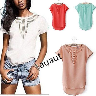 New Casual Chiffon Blouse Women's Short Sleeve Shirt T-shirt Summer Blouse Tops