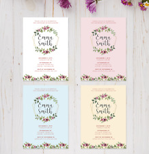 Pretty Pale Yellow Floral Diamante Personalised Christening Invitations