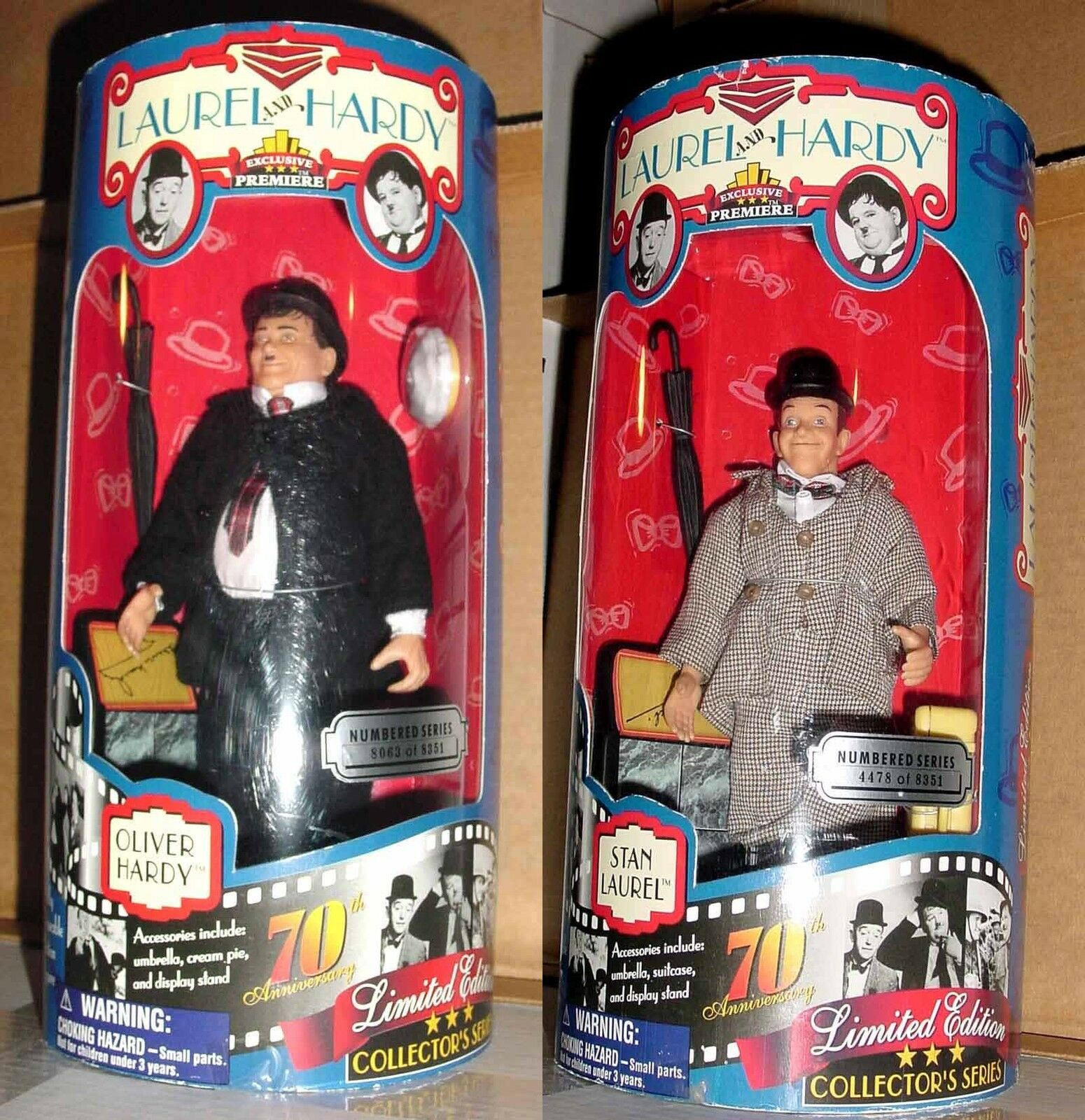 9  INCH TALL STAN LAUREL & OLIVER HARDY STREET CLOTHES