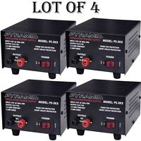 4 Lot) Pyramid Ps3kx 3amp 12volt Dc Power Supply For Phones Cb Ham Radio Scanner on sale