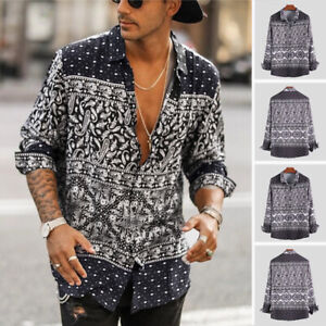 Men-039-s-Bohemian-Floral-V-Neck-Long-Sleeve-Shirt-Tee-Loose-Casual-Hippy-Top-Blouse