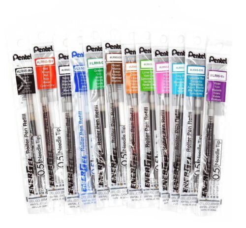 Pentel EnerGel-X Gel Pen Refills Needle Point 0.5 mm CHOOSE Colors BLN105 LRN5