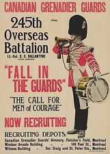 WW1 RECRUITIN POSTER 245TH BN CANADIAN GRENADIER GUARDS NEW A4 PRINT CANADA