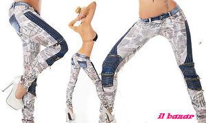 pantalone donna bianco stampato fiori/&farfalle tg S,M,L,XL
