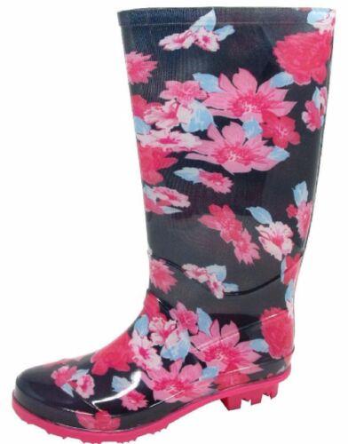 KIDS PINK FLOWER GIRLS WELLIES WOMENS PRINT WELLINGTON ADULTS BOOTS SIZE 13-6 UK