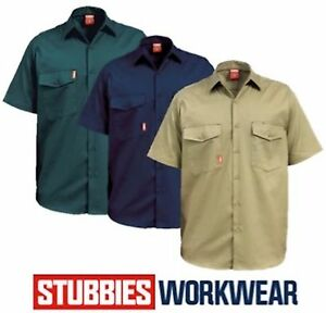 STUBBIES-MENS-190gsm-DRILL-OPEN-FRONT-WORK-SHIRTS-SHORT-SLEEVE-BW2300