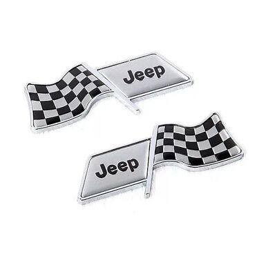 2x Car Emblem Decoration Badge Fender Sticker Logo Racing Flag For JEEP