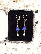 Bristol blue + white Aurora Borealis EARRINGS 14K GF vintage links glam sparkle!