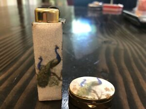 Vintage Dispoz A Lite Lighter & Box Set Refillable Working Ivory Enamel Peacock