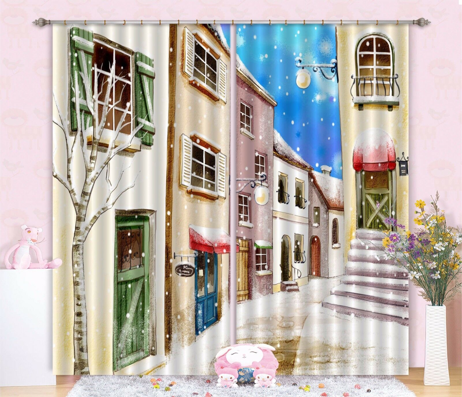 3D nieve Street 436 Cortinas de impresión de Cortina Blockout Foto Tela Cortinas Ventana Reino Unido