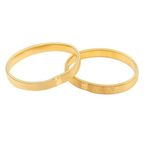 Pair Anti-slip Shirt Sleeve Holders Armband Stretch Garter Elastic Gold