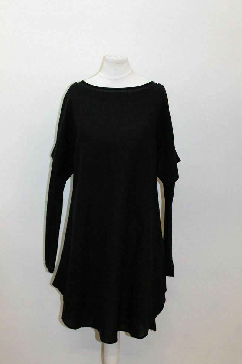 NEW YOHJI YAMAMOTO Ladies schwarz Cotton Blend Long Sleeve Shift Dress 1 XS