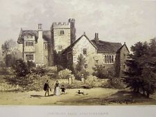 Prout Original 1858 Color Lithograph Throwley Hall Stafforshire 11 by 17