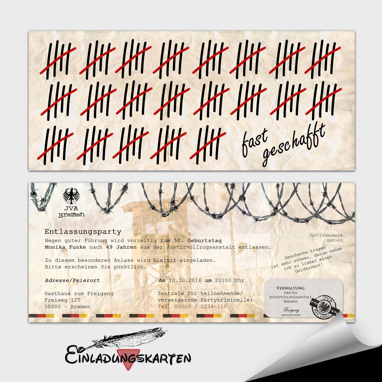 Einladungskarten Geburtstag ● JVA Gefängnis ● Entlassungsbrief  ● 10 20 30 40 50