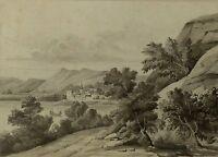 aquarelle ancienne Tableau paysage grisaille 1900 début XX ème